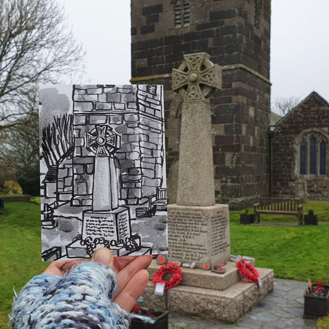 #313,War,Memorial,,Mullion,,Cornwall,polurrian on the lizard, polurrian hotel, lizard peninsula, sketch artist, sketchbook, original art, affordable art, mini art, postcard art, art project, artist, cornish art, church