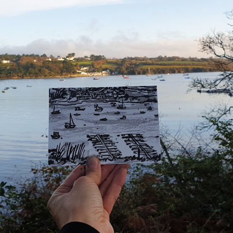 #314,Boats,on,Helford,River,,Cornwall,boats, helford river, lizard peninsula, sketch artist, sketchbook, original art, affordable art, mini art, postcard art, art project, artist, cornish art, church