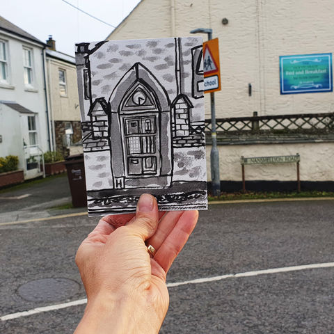 #315,Clock,and,Barometer,,Mullion,Cornwall,mullion clock, barometer, lizard peninsula, sketch artist, sketchbook, original art, affordable art, mini art, postcard art, art project, artist, cornish art, church