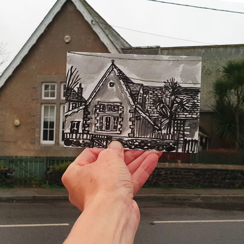 #316,YMCA,building,,Mullion,Cornwall, lizard peninsula, sketch artist, sketchbook, original art, affordable art, mini art, postcard art, art project, artist, cornish art, church