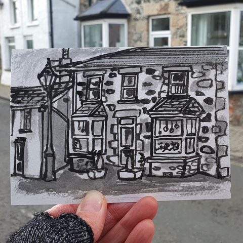 #318,Savoy,House,,Mullion,Cornwall,savoy house, mullion, lizard peninsula, sketch artist, sketchbook, original art, affordable art, mini art, postcard art, art project, artist, cornish art, church