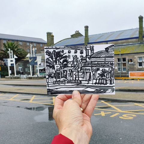 #319,Penzance,Station,,Cornwall,penzance station, sketch artist, sketchbook, original art, affordable art, mini art, postcard art, art project, artist, cornish art, church