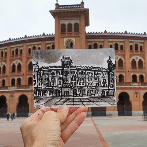 #320,Plaza,de,toros,las,Ventas,,Madrid,madrid, plaza de toros de las Ventas, sketch artist, sketchbook, original art, affordable art, mini art, postcard art, art project, artist, cornish art, church