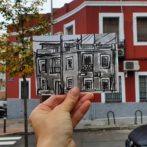 #321,Red,House,,Madrid,madrid, sketch artist, sketchbook, original art, affordable art, mini art, postcard art, art project, artist, cornish art, church