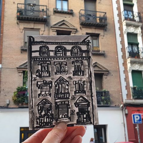 #322,Apartments,Calle,de,Cartagena,,Madrid,madrid, sketch artist, sketchbook, original art, affordable art, mini art, postcard art, art project, artist, cornish art, church
