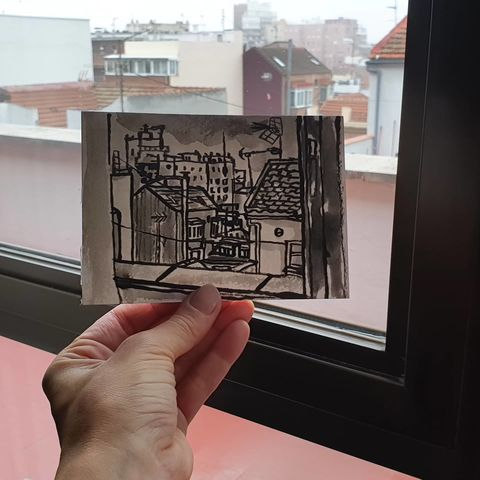 #323,View,from,my,Hotel,,Madrid,madrid, sketch artist, sketchbook, original art, affordable art, mini art, postcard art, art project, artist, cornish art, church