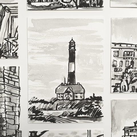 #330,Fire,Island,Lighthouse,,Long,Island,,NY,fire island, new york, lighthouse, sketchbook, original art, affordable art, mini art, postcard art, art project, artist, cornish art, church