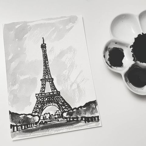 #331,Eiffel,Tower,,Paris,,France,eiffel tower, paris, sketchbook, original art, affordable art, mini art, postcard art, art project, artist, cornish art, church