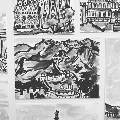 #332,The,Great,Wall,of,China,the great wall of china, sketchbook, original art, affordable art, mini art, postcard art, art project, artist, cornish art, church