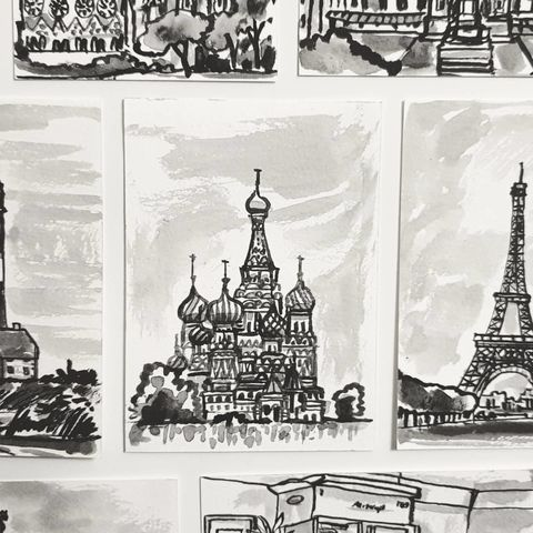 #333,St.,Basil's,Cathedral,,Moscow,st basil cathedral, moscow, sketchbook, original art, affordable art, mini art, postcard art, art project, artist, cornish art, church