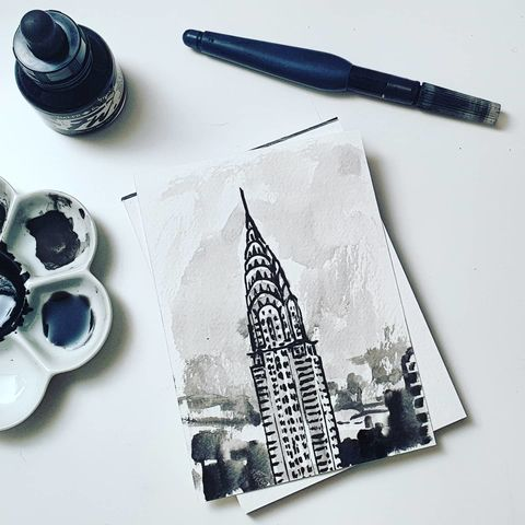 #334,Chrysler,Building,,New,York,chrysler building, new york, sketchbook, original art, affordable art, mini art, postcard art, art project, artist,