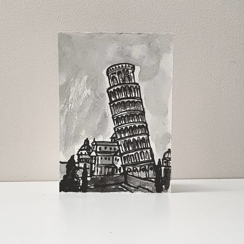 #335,The,Leaning,Tower,of,Pisa,the leaning tower of pisa, sketchbook, original art, affordable art, mini art, postcard art, art project, artist,