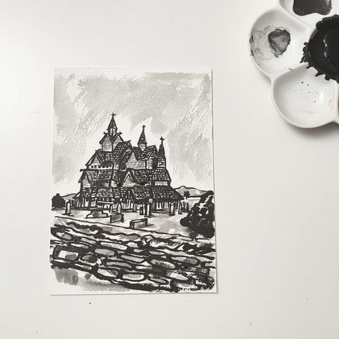 #336,Heddal,Stave,Church,,Norway,heddal stave church, norway, sketchbook, original art, affordable art, mini art, postcard art, art project, artist,