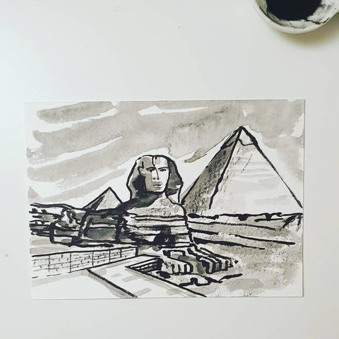 #337,The,Pyramids,and,the,Sphinx,,Giza,the pyramids and the Sphinx, sketchbook, original art, affordable art, mini art, postcard art, art project, artist,