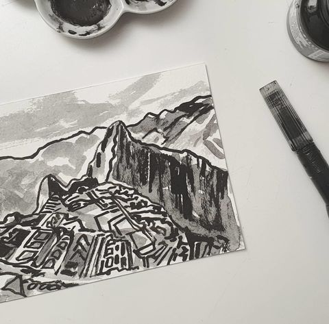 #339,Machu,Picchu,,Peru,machu picchu, peru, sketchbook, original art, affordable art, mini art, postcard art, art project, artist,