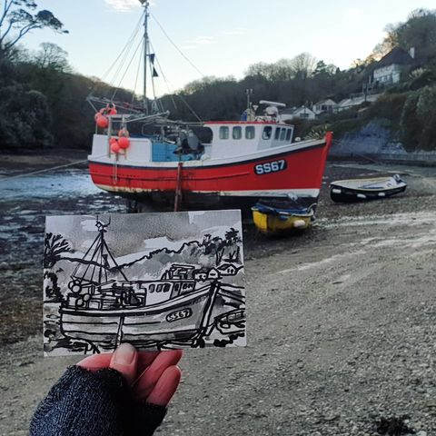 #340,Red,boat,,Helford,Creek,helford, boat, sketchbook, original art, affordable art, mini art, postcard art, art project, artist,