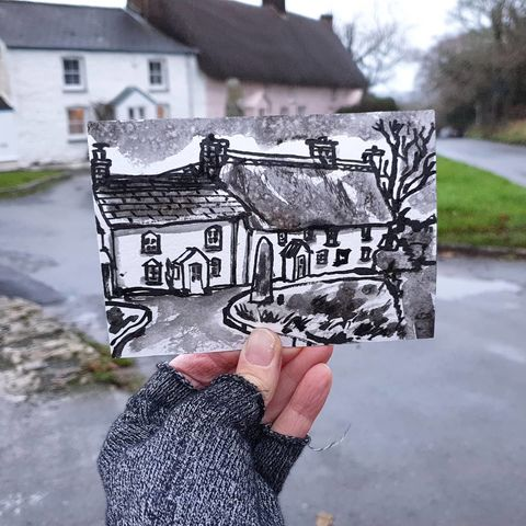 #344,Cottages,with,Menhir,at,Mawgan,in,Meneage,mawgan, sketchbook, original art, affordable art, mini art, postcard art, art project, artist,