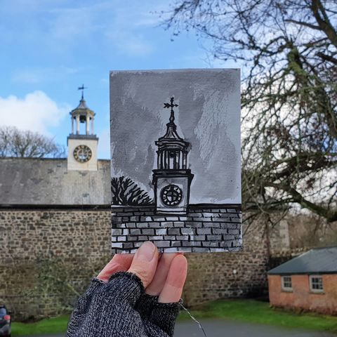#345,Clock,tower,,Stables,,Trelowarren,Estate,clock tower, stables, trelowarren, sketchbook, original art, affordable art, mini art, postcard art, art project, artist,