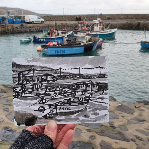 #350,Fishing,boats,,Coverack,fishing boats, coverack, sketchbook, original art, affordable art, mini art, postcard art, art project, artist,