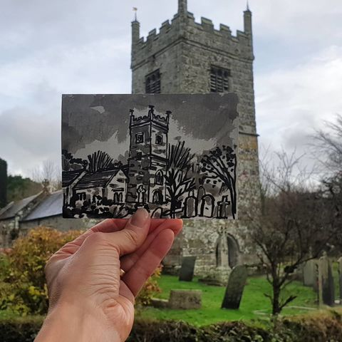#352,St,Colan,Church,,Newquay,st colan, newquay, sketchbook, original art, affordable art, mini art, postcard art, art project, artist,