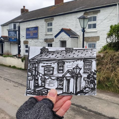 #355,Halzephron,Inn,,Gunwalloe, halzephron inn, sketchbook, original art, affordable art, mini art, postcard art, art project, artist,