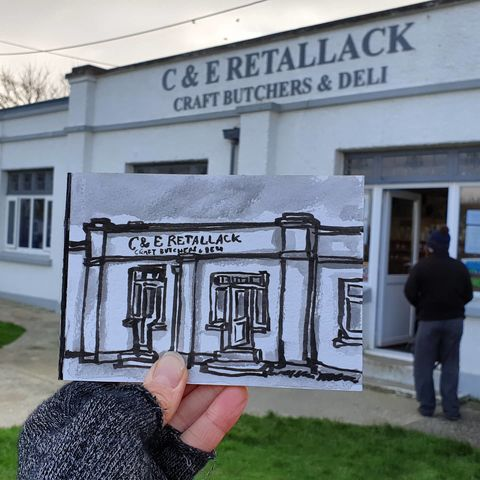 #359,Retallack,Butchers,,Lizard,village,lizard village, retallack butchers, sketchbook, original art, affordable art, mini art, postcard art, art project, artist,