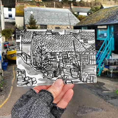 #360,Christmas,in,Cadgwith,Cove,,Lizard,Peninsula,lizard village, retallack butchers, sketchbook, original art, affordable art, mini art, postcard art, art project, artist,