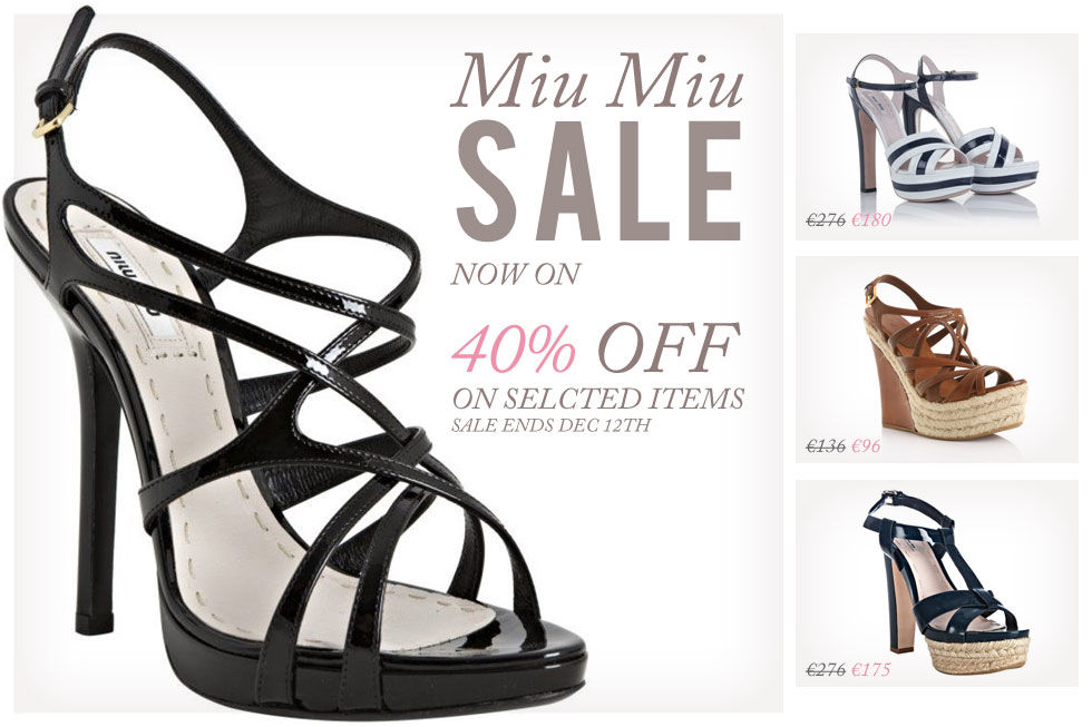 Miu Miu - Black Leather Crisscross Strappy Sandals