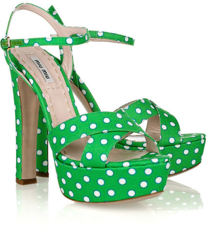 Green,Polka,Dot,Satin,Twill,Sandals,sandals, polka dot sandals, green sandals, shoes