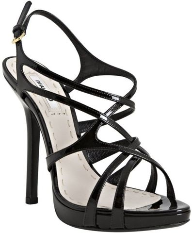 Miu,-,Black,Leather,Crisscross,Strappy,Sandals,Miu Miu - Black Leather Crisscross Strappy Sandals