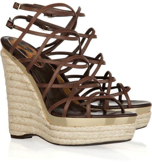 Roberto Cavalli - Leather Espadrille Wedge Sandals - product images  of
