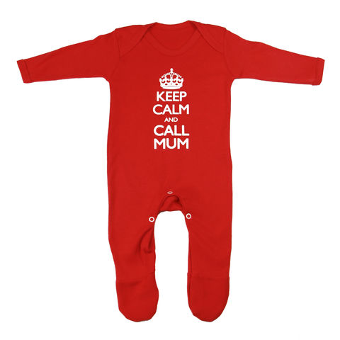 Keep,Calm,and,Call,Mum,Romper,-,Red,Edition,Childrens wear,Baby clothes,baby_wear,baby,Keep Calm, Keep calm call Mum,clothes,cotton,thermal print