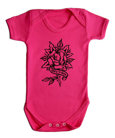 Born,to,Rock,-,Fuchsia,Funk,Edition,Children,Baby,Bodysuit,Baby_bodysuit,baby_onesie,onesie,baby_grow,Born to rock, Rock baby wear, Tattoo Baby