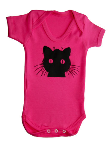 Black,Cat,-,Fuchsia,is,Bright,Edition,Childrens wear,Baby clothes,Bodysuit,Baby_bodysuit,baby_onesie,onesie,baby grow,Black Cat,Cat_Onesie,Girls_Onesie,Baby_Girl,Cute_Cat,Baby_cat,Pink_Cat,cotton,thermal print