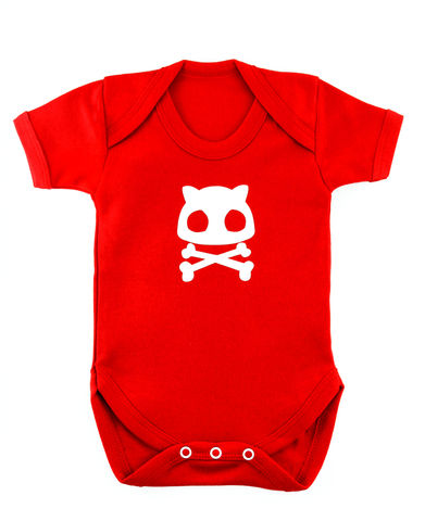 Cat,Skull,-,Red,Edition,Childrens wear,Baby clothes,Bodysuit,Baby_bodysuit,baby_onesie,onesie,Baby grow,Cat Skull Baby,Cat Skull, Baby goth, Baby Emo,Goth Baby,Emo Onesie,Goth Onesie