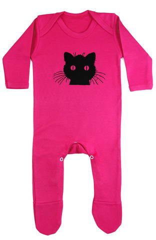 Black,Cat,-,Fuchsia,is,Bright,Romper,Childrens wear,Baby clothes,Baby Romper,Cat Romper,Black Cat,Baby Romper Pink