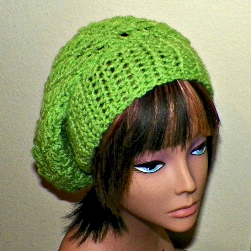 c3d140b8691 Slouchy Hat Summer Crochet Womens Tam Beret Boho Chunky Green Beanie Rasta  - product images of