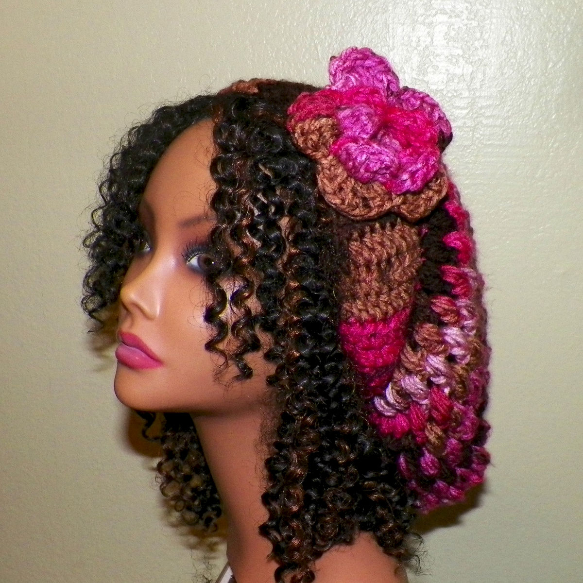 174afa1a0 Slouchy Hat Chunky Winter Womens Crochet Hippie Rainbow Pink Black Tam  Beret Boho Summer Beanie