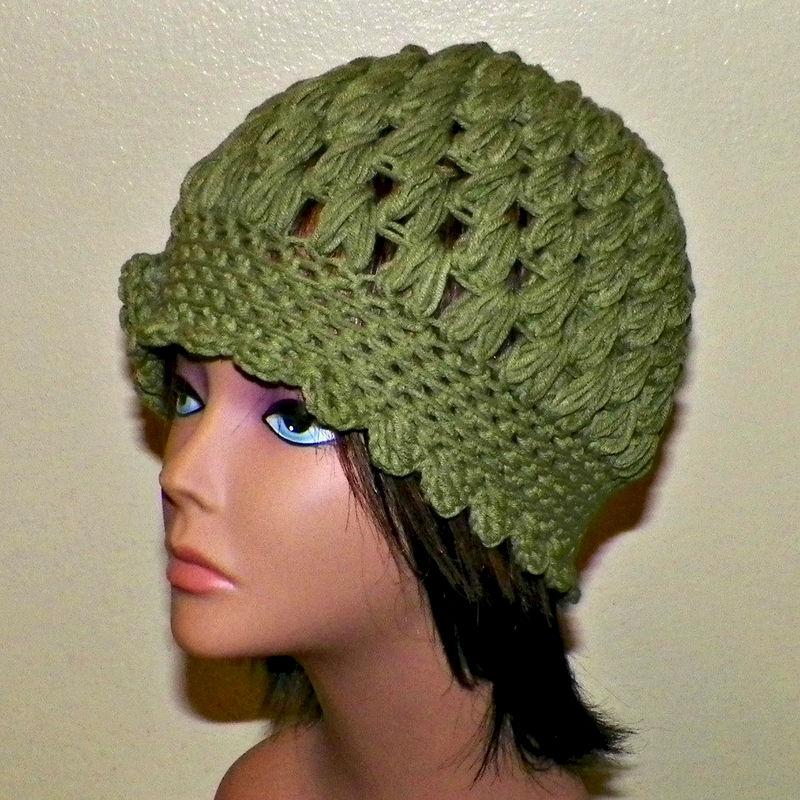 8c4de0b14e4 Womens Cloche Hat Flapper Downton Abby Olive Green Freeform Beanie Crochet  Flower Gatsby Bucket 1920s Style