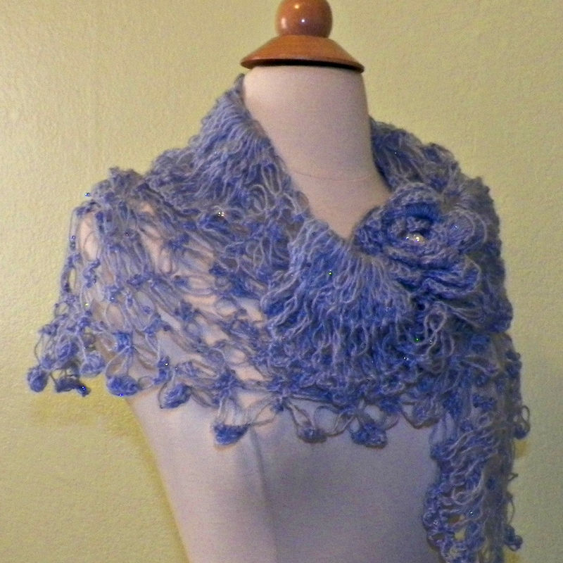 Bridal shawl triangle blue flower crochet mohair sequin for How to ship a wedding dress usps