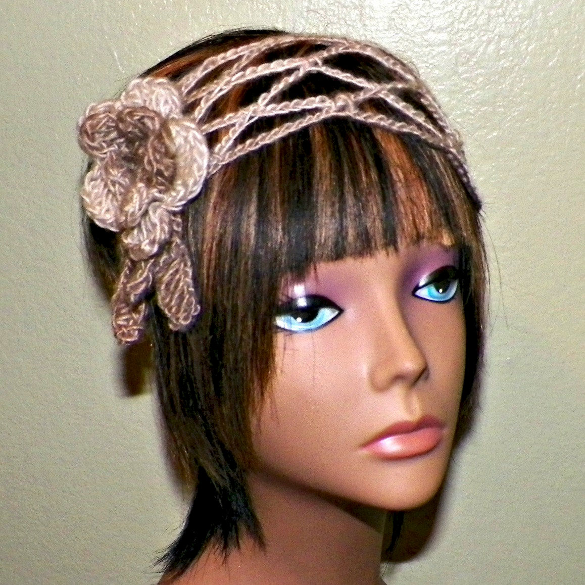 Flower Headband Mesh Hippie Boho Gypsy Earthtone Crochet Hair Band