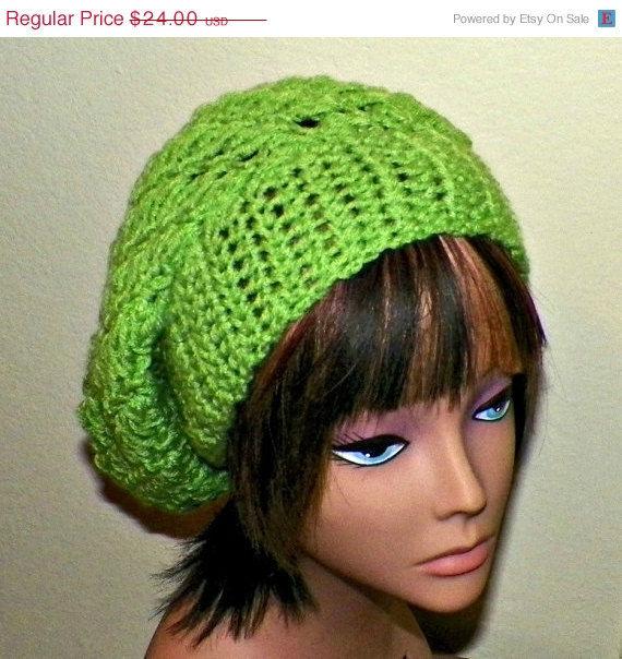 Sale- Slouchy Hat Summer Crochet Womens Tam Beret Boho Chunky Green Beanie  Rasta - product 0756fcc85b