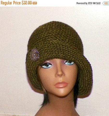 49319229b56 On Sale- Slouchy Hat Blue Womens Crochet Hippie Tam Beret Boho ...
