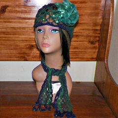 7b922ee76 Spring Sale- Green Purple Beanie Hat Cloche Headband Irish Lace ...