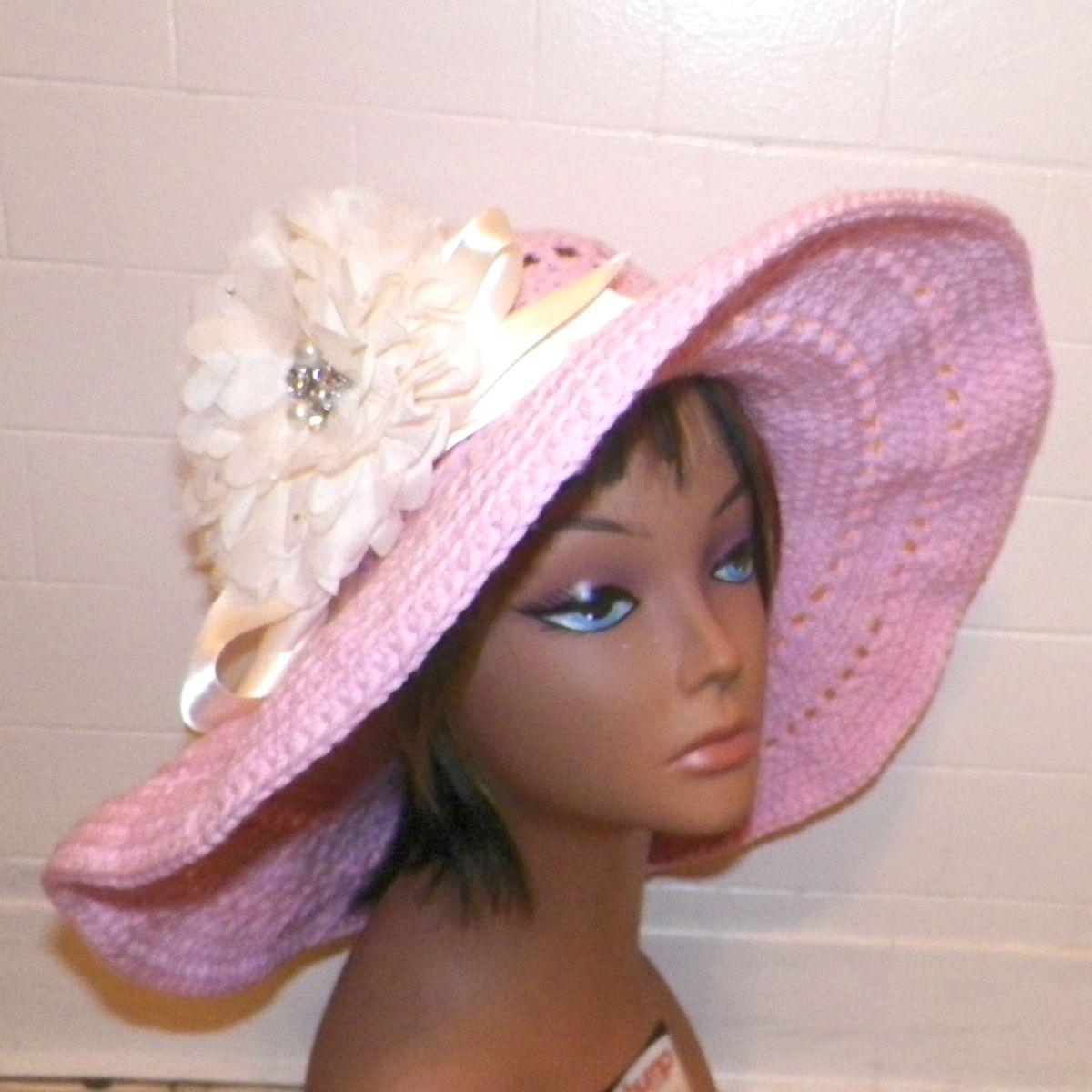 Sunhat Summer Sun Hat Wide Brimmed Garden Hippie Floppy Boho Pink Cream  Womens Beach Hat Sun Bonnet 5c765605592
