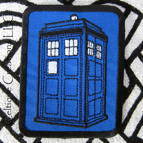 UK Blue Police Box Sew On Patch Public Call Box Handmade Badge - product images  of