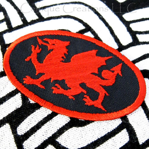 Heraldry Dragon Sew On Patch Welsh Dragon Handmade Badge Red On Black - product images  of