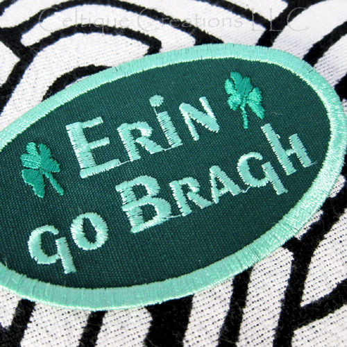 Erin Go Bragh Sew On Patch Green Handmade Irish Motto Badge - product images  of