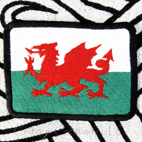 Welsh Flag Sew On Patch Handmade Flag of Wales Badge with Red Dragon - product images  of