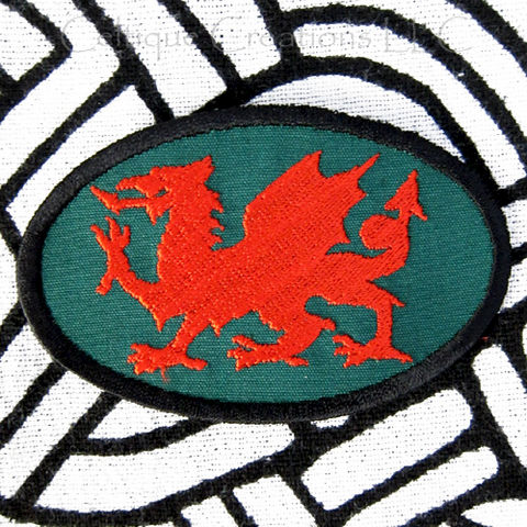 Oval,Welsh,Dragon,Sew,On,Patch,Heraldic,Red,Handmade,Badge,Welsh Dragon, Heradry, Fantasy Dragon, Wales, Welsh Patch, Welsh Badge, Handmade Patch, Celtic Patch